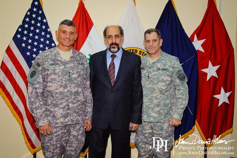 29 SEP 2011 - LTG Ferriter, LTG Caslen and RADM Winters meet with Iraqi leader Mr. Sinead. BLDG One, FOB Union III, Baghdad, Iraq.  U.S. Army photo by John D. Helms - john.helms@iraq.centcom.mil.