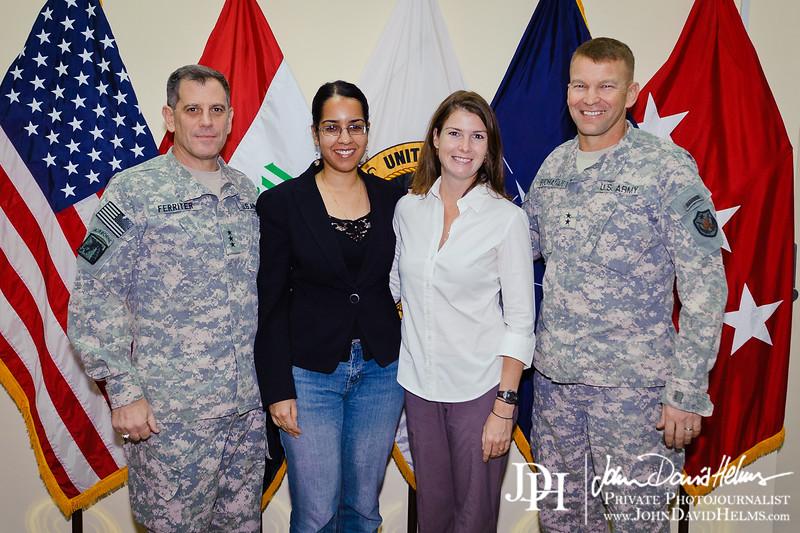 27 SEP 2011 - Lara Jakes and Serena Chaudhry interview LTG Ferriter and MG Buchanan at FOB Union III, Baghdad, Iraq. U.S. Army photo by John D. Helms - john.helms@iraq.centcom.mil.
