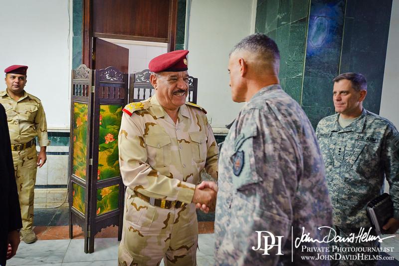 26 SEP 2011 - LTG Ferriter and LTG Caslen meet with Iraqi GEN Aboud at the Ministry of Defense.  Baghdad, Iraq. U.S. Army photo by John D. Helms - john.helms@iraq.centcom.mil.