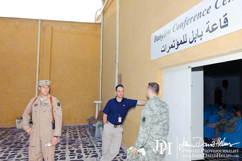 12 OCT 2011 - USAF ACCE Commander Maj Gen Russell Handy hosts an Airman's Call, Babylon Conference Center, Baghdad, Iraq.  U.S. Army photo by John D. Helms - john.helms@iraq.centcom.mil.