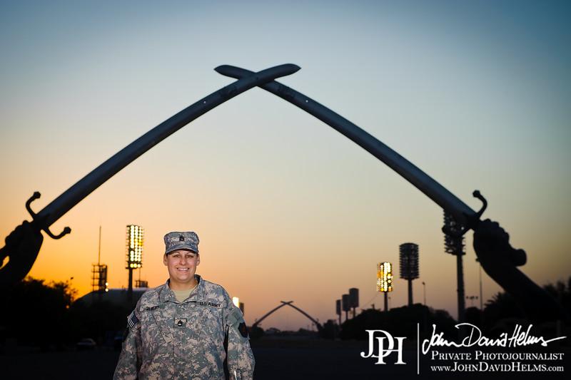 7 OCT 2011 - Group photos at the crossed swords, Baghdad, Iraq.  Photo by John D. Helms - john.helms@iraq.centcom.mil.