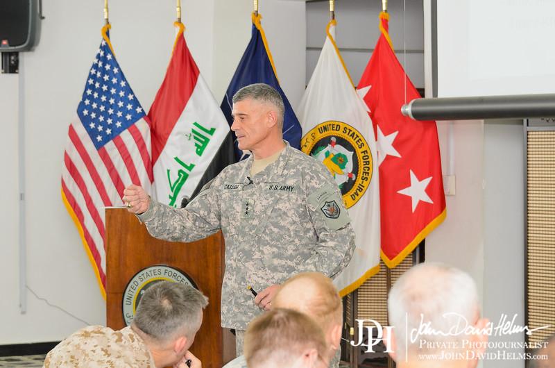 01 OCT 2011 - LTG Caslen hosts OSC-I and NTM-I Senior Staff Inbrief.  Babylon Conference Center, FOB Union III, Baghdad, Iraq.  U.S. Army photo by John D. Helms - john.helms@iraq.centcom.mil.