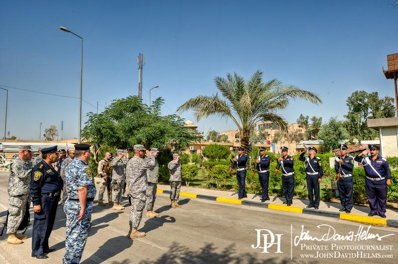 9 OCT 2011 - LTG Caslen KLE with sLTG Hussein al Awadi, Camp Prosperity, Baghdad, Iraq.  U.S. Army photo by John D. Helms - john.helms@iraq.centcom.mil.