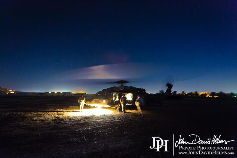 10 OCT 2011 - Long exposure test shots with and on a Blackhawk, Baghdad, Iraq. U.S. Army photo by John D. Helms - john.helms@iraq.centcom.mil.