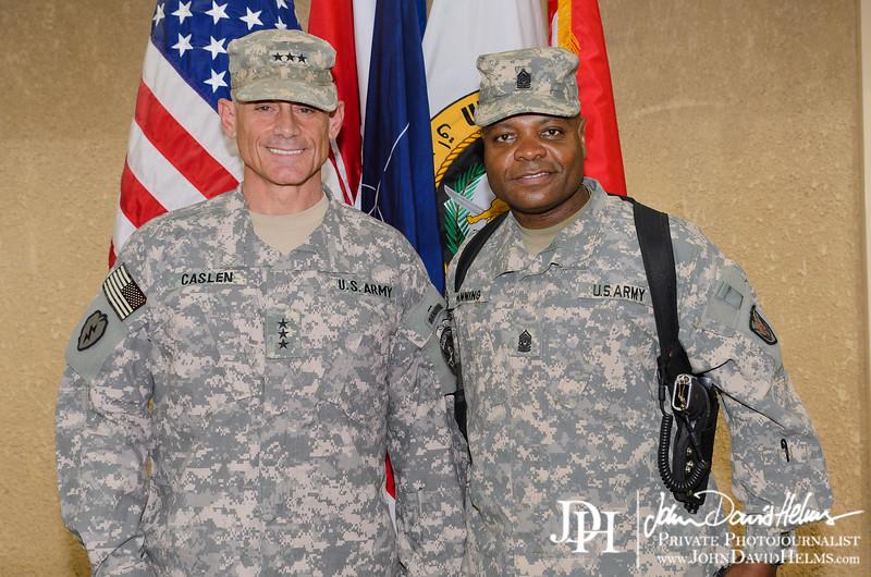 01 OCT 2011 - OSC-I and NTM-I welcome reception for LTG Caslen.  BLDG 1, FOB Union III, Baghdad, Iraq. U.S. Army photo by John D. Helms - john.helms@iraq.centcom.mil.