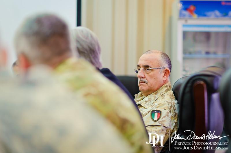 17 NOV 2011 - OSC-I Chief and NTM-I Commander LTG Robert L. Caslen, Jr., NATO ASG (Assistant Secretary General - Operations) Evans, and other NATO / NTM-I leaders meet with Mr. Hamza from Iraq's NSA office, Baghdad, Iraq. U.S. Army photo by John D. Helms - john.helms@iraq.centcom.mil.