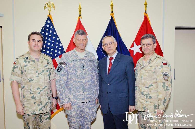 28 NOV 2011 - OSC-I Chief and NTM-I Commander LTG Robert L. Caslen, Jr. meets with AMB Smolen (Polish Ambassador) at FOB Union III, Baghdad, Iraq.  Photo by John D. Helms - john.helms@iraq.centcom.mil.