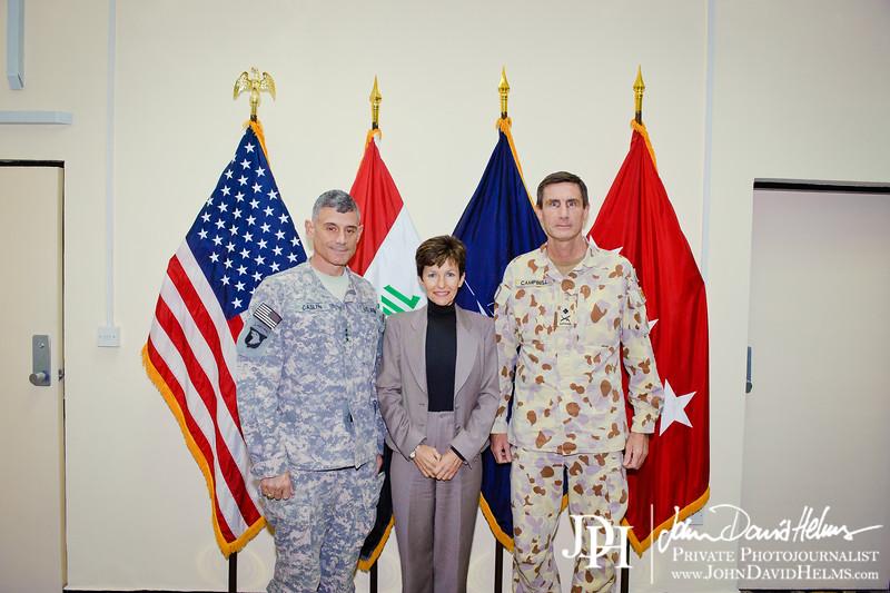 28 NOV 2011 - OSC-I Chief and NTM-I Commander LTG Robert L. Caslen, Jr. meets with AMB Sachs (Austrailian Ambassador) and MG Campbell at FOB Union III, Baghdad, Iraq.  Photo by John D. Helms - john.helms@iraq.centcom.mil.