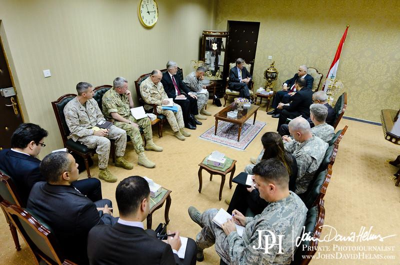 17 NOV 2011 - OSC-I Chief and NTM-I Commander LTG Robert L. Caslen, Jr., NATO ASG (Assistant Secretary General - Operations) Evans, and other NATO / NTM-I leaders meet with Iraq's NSA Fayyad.  Baghdad, Iraq. U.S. Army photo by John D. Helms - john.helms@iraq.centcom.mil.