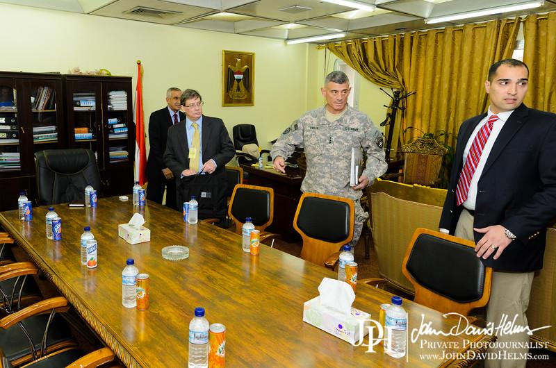 16 NOV 2011 - OSC-I Chief and NTM-I Commander LTG Robert L. Caslen, Jr., NATO ASG (Assistant Secretary General - Operations) Evans, and other NATO / NTM-I leaders meet with Mr. Hamza from Iraq's NSA office, Baghdad, Iraq. U.S. Army photo by John D. Helms - john.helms@iraq.centcom.mil.