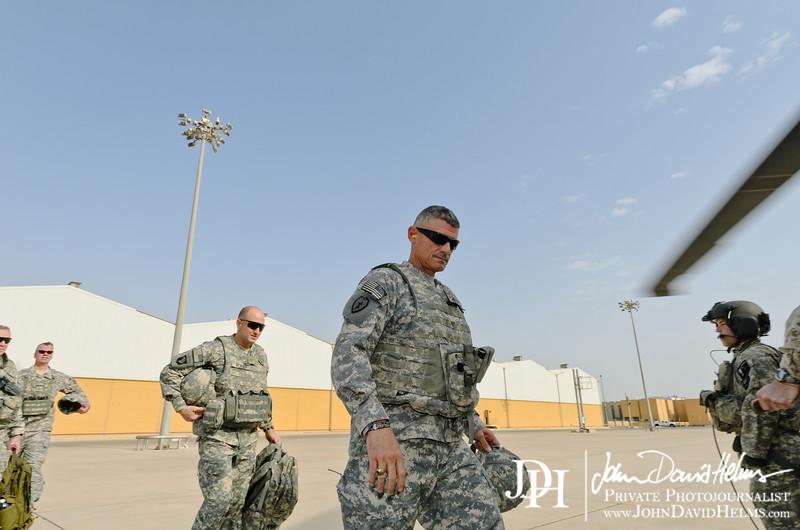 12 NOV 2011 - OSC-I Chief and NTM-I Commander LTG Robert L. Caslen, Jr. and OSC-I CSM George Manning visit Basra and Umm Qasr for a town hall meeting, then return to Union III, Baghdad, Iraq.  Photo by John D. Helms - john.helms@iraq.centcom.mil.