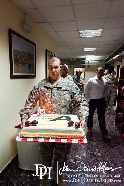30 NOV 2011 - OSC-I command group at work, BLDG One, FOB Union III, Baghdad, Iraq.  Photo by John D. Helms - john.helms@iraq.centcom.mil.