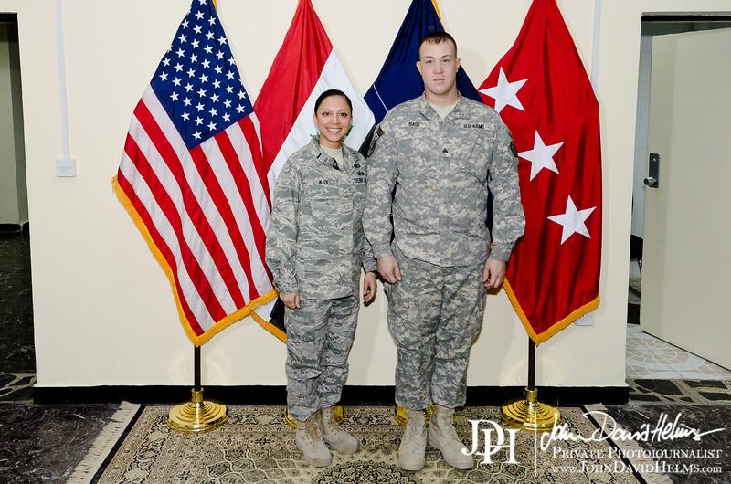 15 NOV 2011 - Ted Koppel interviews OSC-I Chief and NTM-I Commander LTG Robert L. Caslen, Jr. at BLDG 1, FOB Union III, Baghdad, Iraq.  Photo by John D. Helms - john.helms@iraq.centcom.mil.