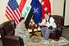 15 NOV 2011 - Ted Koppel interviews OSC-I Chief and NTM-I Commander LTG Robert L. Caslen, Jr. at BLDG 1, FOB Union III, Baghdad, Iraq.  Photo by CW3 Richmond