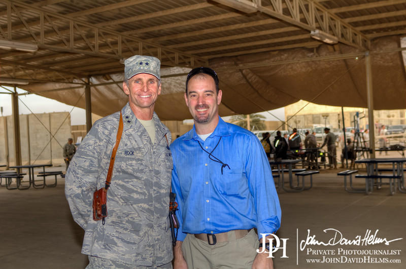 24 NOV 2011 - OSC-I Chief and NTM-I Commander LTG Robert L. Caslen, Jr. and OSC-I CSM George Manning visit Sather Air Force Base, Baghdad, Iraq to wish deployed Service Members and Civilians a Happy Thanksgiving.  Photo by John D. Helms - john.helms@iraq.centcom.mil.