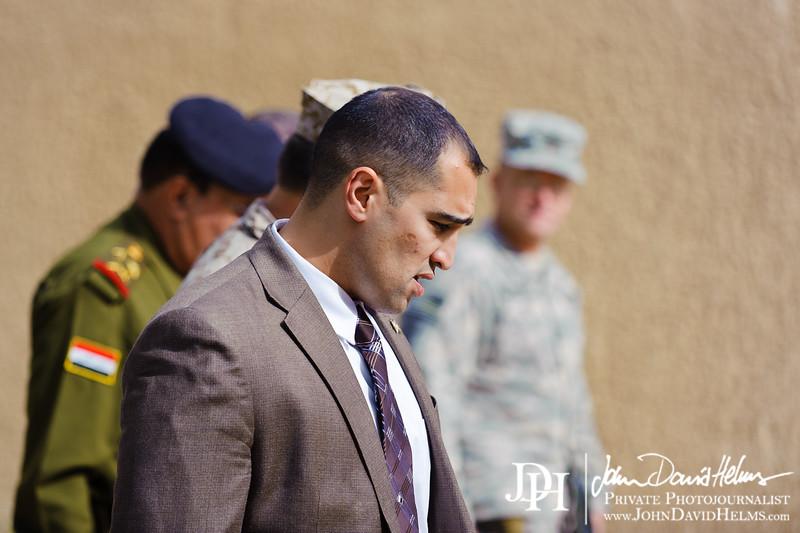 10 NOV 2011 - OSC-I Chief and NTM-I Commander LTG Robert L. Caslen, Jr. welcomes Ali Gheidan for a meeting at BLDG One, FOB Union III, Baghdad, Iraq.  U.S. Army photo by John D. Helms - john.helms@iraq.centcom.mil.