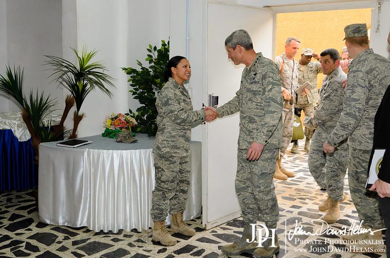 17 NOV 2011 - OSC-I Chief and NTM-I Commander LTG Robert L. Caslen, Jr. welcomes United States Air Force Chief of Staff Gen. Schwartz to FOB Union III, Baghdad, Iraq. U.S. Army photo by John D. Helms - john.helms@iraq.centcom.mil.
