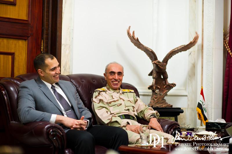 28 DEC 2011 - OSC-I Chief LTG Robert L. Caslen, Jr. meets with General Babakir at the Ministry of Defence, Baghdad, Iraq.  Photo by John D. Helms - john.helms@iraq.centcom.mil.