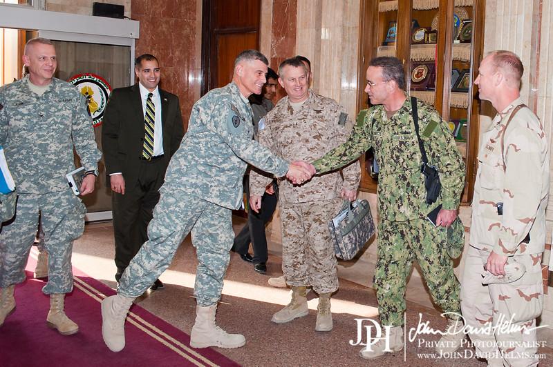 8 DEC 2011 - OSC-I Chief and NTM-I Commander LTG Robert L. Caslen, Jr. meets with sGEN Aboud at the Ministry of Defence, Baghdad, Iraq.  Photo by John D. Helms - john.helms@iraq.centcom.mil.