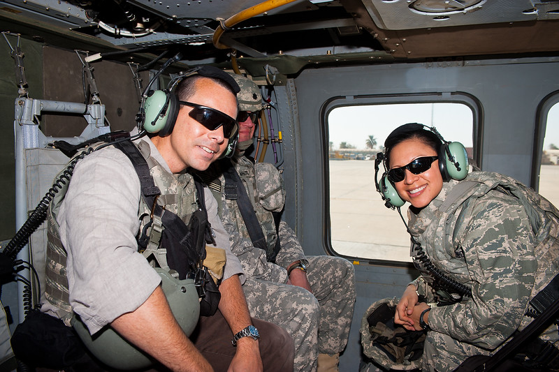 2 DEC 2011 - OSC-I Chief and NTM-I Commander LTG Robert L. Caslen, Jr. and OSC-I CSM George Manning visit Sather Air Force Base, Baghdad, Iraq to present awards to the F2 Set Blackhawk crew (Kill Devils).  Photo by SGT Andrew Sage.