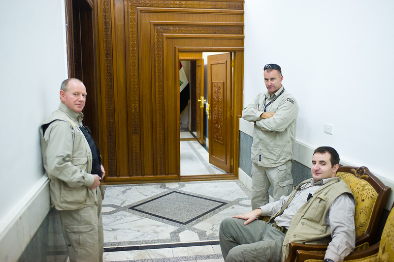 13 DEC 2011 - OSC-I Chief and NTM-I Commander LTG Robert L. Caslen, Jr. and RADM Ed Winters meet with GEN Farouq at the OCINC Headquarters, Baghdad, Iraq. Photo by CW3 Richmond.