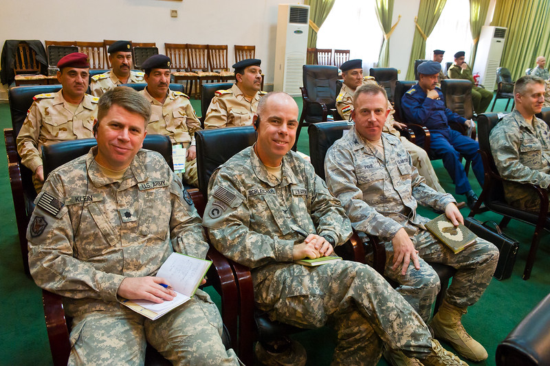 19 DEC 2011 - OSC-I Chief LTG Robert L. Caslen, Jr. and RADM Ed Winters attend the Joint Division Commanders' Conference in Martyrs Hall at the Iraqi Ministry of Defence, Baghdad, Iraq.  Photo by John D. Helms - john.helms@iraq.centcom.mil.