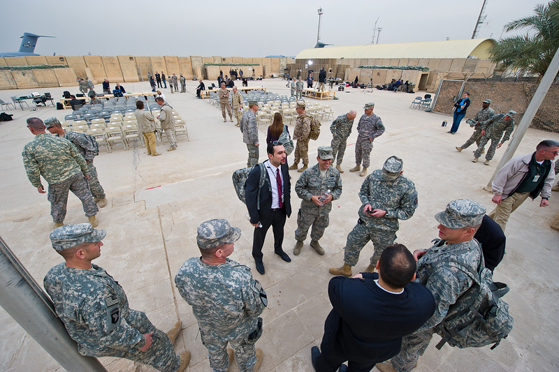 15 DEC 2011 - United States Forces - Iraq End of Mission Ceremony, Glass House courtyard, Sather Air Force Base, Baghdad, Iraq. U.S. Army photo by John D. Helms - john.helms@iraq.centcom.mil.