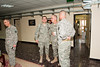 12 DEC 2011 - Maj. Gen. Russell Handy presents letters of recognition to Dave Stanley (OSC-I Chief of Protocol), John D. Helms (OSC-I Command Photographer) and LTC Tom Hanson (OSC-I J9) at BLDG One, FOB Union III, Baghdad, Iraq.  Photo by Maj. Stacie Shafran.