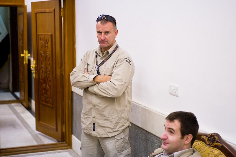 13 DEC 2011 - OSC-I Chief and NTM-I Commander LTG Robert L. Caslen, Jr. and RADM Ed Winters meet with GEN Farouq at the OCINC Headquarters, Baghdad, Iraq. Photo by CW3 Richmond.