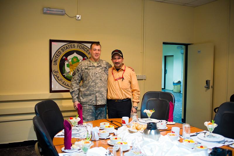 13 DEC 2011 - OSC-I Chief and NTM-I Commander LTG Robert L. Caslen, Jr. hosts Mr. Sinead at BLDG one, FOB Union III, Baghdad, Iraq. Photo by John D. Helms - john.helms@iraq.centcom.mil.