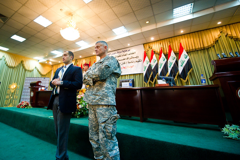 18 DEC 2011 - OSC-I Chief LTG Robert L. Caslen, Jr. and RADM Ed Winters attend the Joint Division Commanders' Conference in Martyrs Hall at the Iraqi Ministry of Defence, Baghdad, Iraq.  Photo by John D. Helms - john.helms@iraq.centcom.mil.