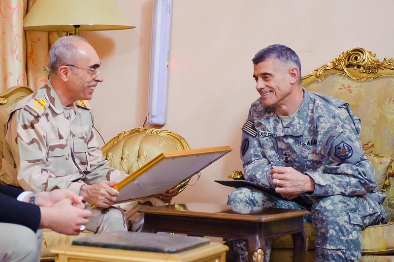 21 NOV 2011 - OSC-I Chief and NTM-I Commander LTG Robert L. Caslen, Jr. meets with General Babakir, Baghdad, Iraq.  Photo by John D. Helms - john.helms@iraq.centcom.mil.