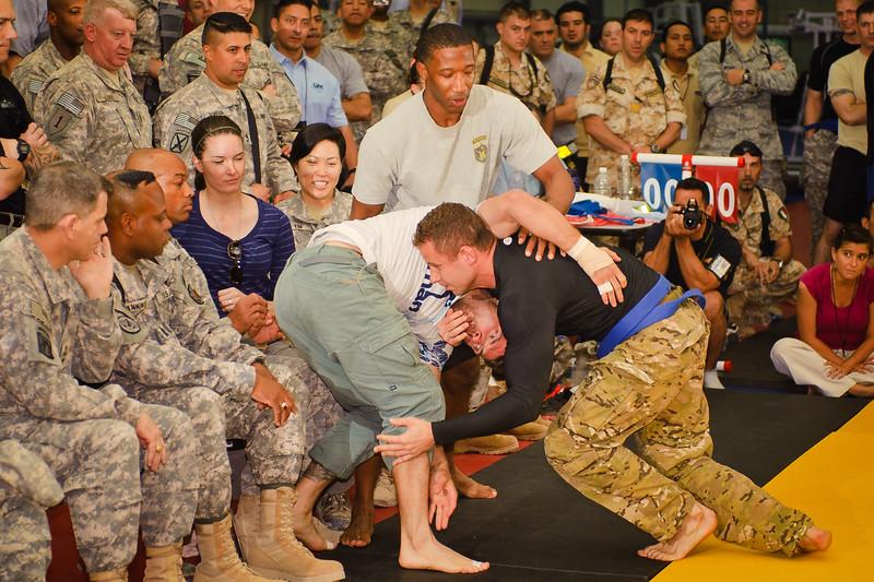 23 JUL 2011 - Submission Grappling Tournament at Scott-Wolfer Fitness Center, FOB Union III, Baghdad, Iraq. Photo by John D. Helms - john.helms@iraq.centcom.mil.