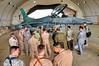 7 JUN 2011 - LTG Ferriter (USF-I / NTM DCG A&T) and Iraq NSA observe F-16 demonstration in Balad, Iraq.  Photo by John D. Helms.