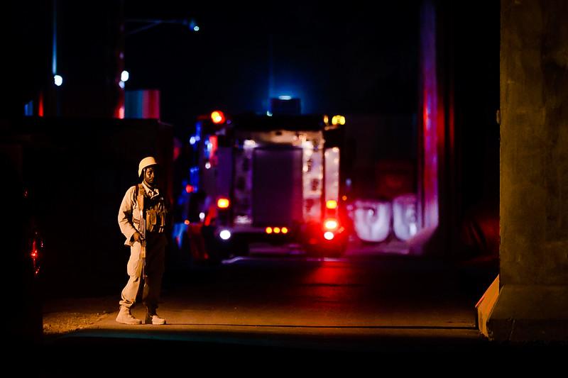 18 JUL 2011 - Fire at building five, FOB Union III, Baghdad, Iraq. Photo by John D. Helms - john.helms@iraq.centcom.mil.