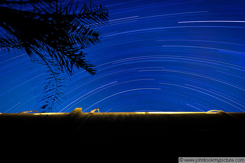 22 AUG 2011 - Seven hour star trail test image.  FOB Union III, Baghdad, Iraq. U.S. Army photo by John D. Helms - john.helms@iraq.centcom.mil.