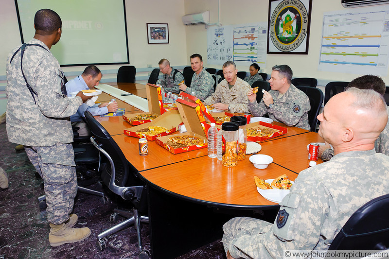 13 AUG 2011 - Cake and ice cream for John Helms' birthday.  FOB Union III, Baghdad, Iraq.  Photo by 1Lt Monica Wade.