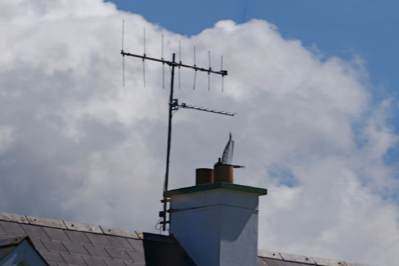 The older VHF channels are vertically polarized, while the newer UHF channels are  horizontally polarized.  Many masts had only UHF, suggesting maybe the VHF has been shutdown.