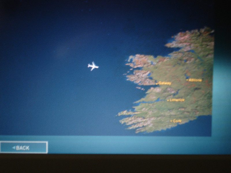 The GPS display on our personal video system was popular as we approached Dublin.