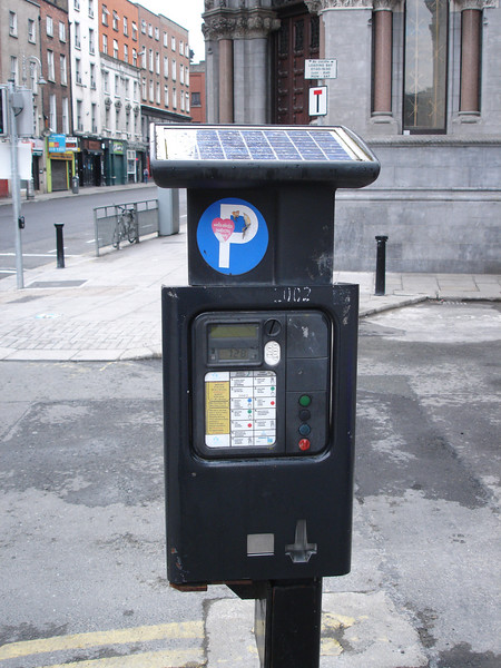 A solar-powered unit for issuing daily parking permits.