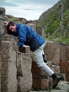 Giant's Causeway - Alex climbing the stones