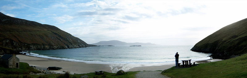 The beach at the very end of the R319 on Achill Island on the west coast of Ireland (and that's Dad taking a photo).