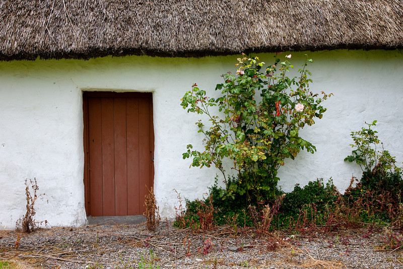 Our first stay was at the Bunratty Shannon Shamrock Hotel.  Just out the door of the pub and past the 20 meter indoor heated swimming pool was this little cottage.