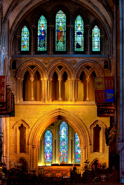 This is an HDR photo of the altar in St. Patrick's Cathedral, Dublin.