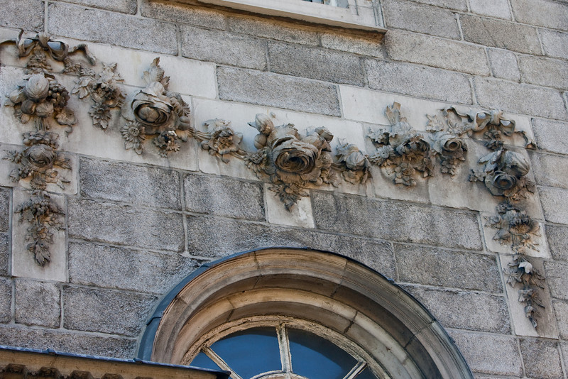 This is a detail on the side of one of the buildings at Trinity College where we toured the display of the Book of Kells.