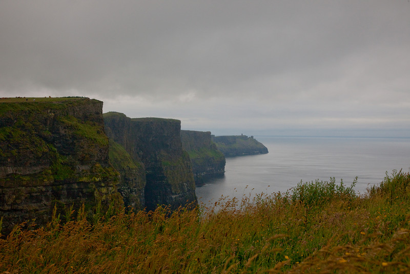 Our next stop was the Cliffs of Moher.  The slight drizzle and overcast persisted.