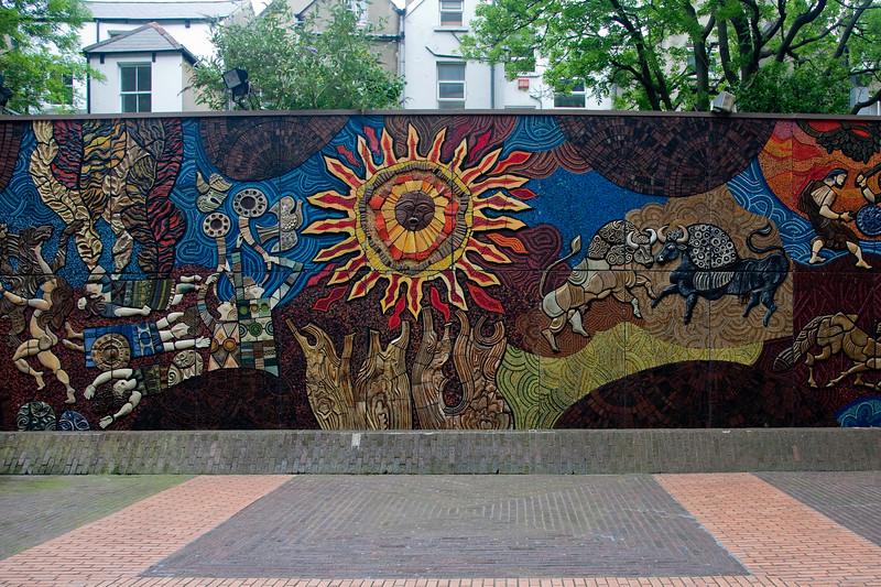 A mosaic mural, on foot in Dublin.