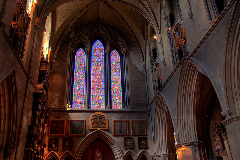 This is an HDR photo of the rear of St. Patrick's Cathedral, Dublin.