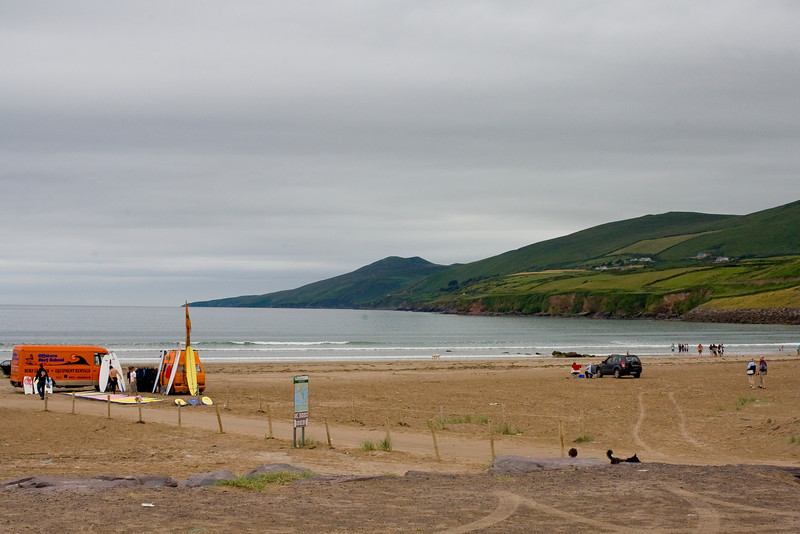 Looking out from the deck of the pub is a view of Inch Beach and surfing....