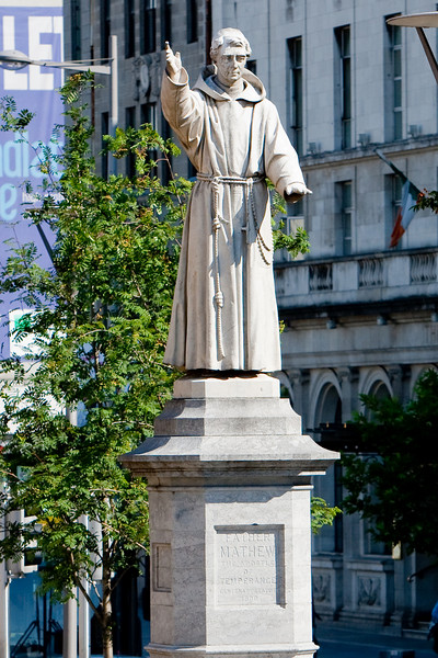 This is a monument of Father Theobald Matthew who in the mid 1800's was responsible for about one half of the population of Ireland taking vows of abstinence and single-handedly destroying the Irish Whiskey industry.